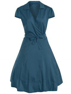 V Neck Tied Belt Surplice Skater Dress - Turquoise M