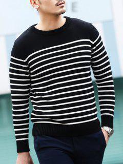 Crew Neck Stripe Pullover Sweater - Black 2xl