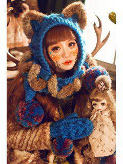 Chunky Crochet Knit Cat Ear Hat Gloves - Blue