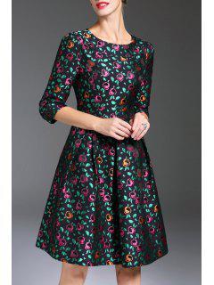 Jacquard Fleur Robe Ajustée Et évasée - Floral M