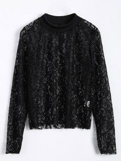 Long Slevee High Neck Lace Blouse - Black M