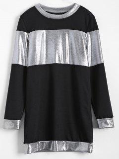 Mini-robe Manches Metallic Couleur Long - Noir M
