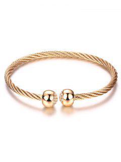 Rhinestone Twisted Cuff Bracelet - Champagne Gold