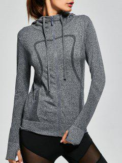 Hooded Zip Running Jacket - Gray S