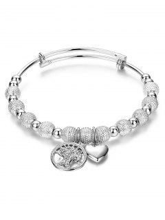 Silver Tree Heart Beaded Bracelet - Silver