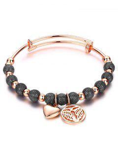 Heart Dull Polished Beaded Bracelet - Black And Rose Gold
