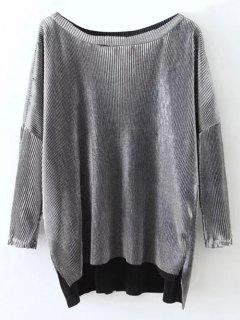 Metallic Color High Low Pleated T-Shirt - Frost L
