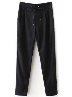 Pantalon En Coton Coulissé Rayure étroit  - Bleu Violet S