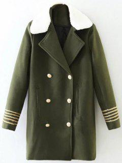Borg Collar Double Breasted Military Coat - Army Green S
