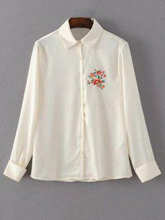 Floral Embroidered Button Up Satin Shirt - Off-white S