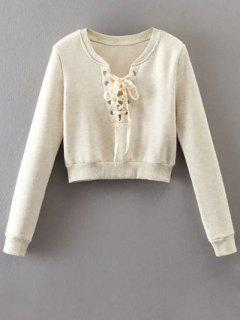 Lace Up Fleece Lining Sweatshirt - Off-white M