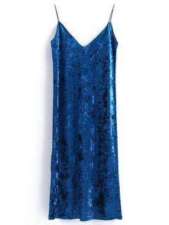 Back Slit Velvet Cami Dress - Royal