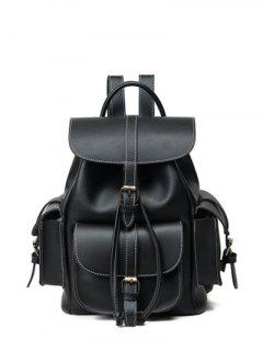 Multi Pockets Buckle Straps Backpack - Black