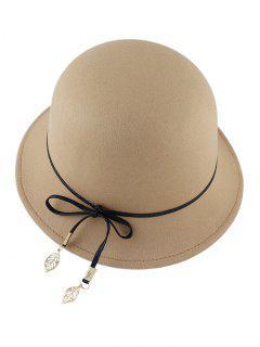 Leaf Bowknot Felt Bowler Hat - Light Camel