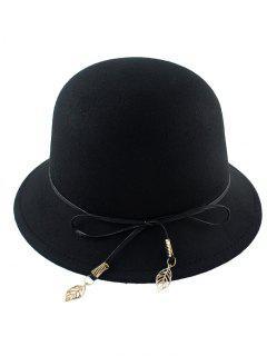 Leaf Bowknot Felt Bowler Hat - Black