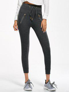 Zip Embellished Drawstring Jogger Pants - Deep Gray S