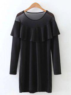 Robe Volantée Insérée Tulle - Noir S