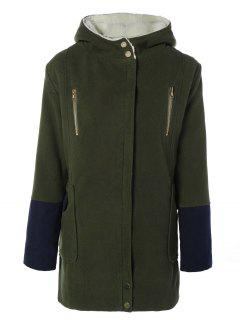 Hooded Faux Shearling Color Block Coat - Olive Green S