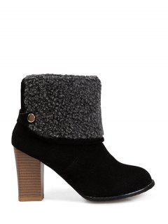Snaps Zipper Chunky Heel Short Boots - Black 38