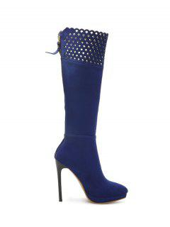 Hollow Out Zipper Platform Boots - Blue 37