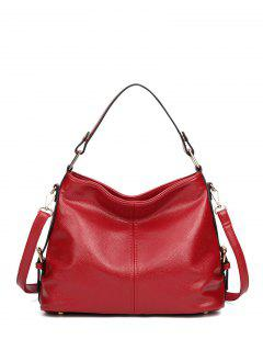 Textured Leather Metal Double Buckle Tote Bag - Red