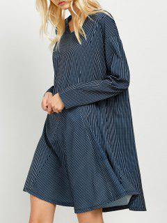 Striped Long Sleeve Tunic Dress - Blue And White S