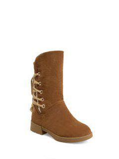Back Lace Up Mid Calf Snow Boots - Brown 38