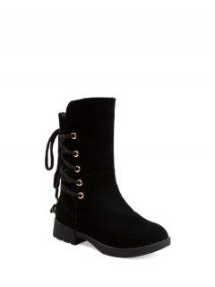 Back Lace Up Mid Calf Snow Boots - Black 38