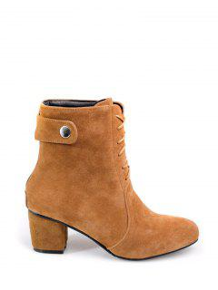 Criss-Cross Mid Heel Suede Short Boots - Brown 38