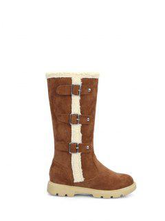 Faux Shearling Panel Mid Calf Boots - Brown 38