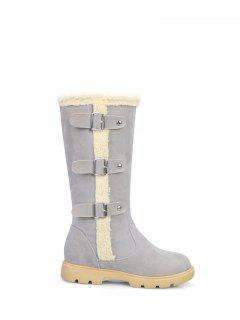 Faux Shearling Panel Mid Calf Boots - Gray 37