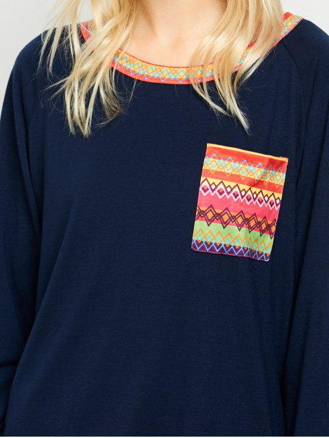 fashion Pocket Round Neck Printed Tunic T-Shirt - CADETBLUE L Mobile