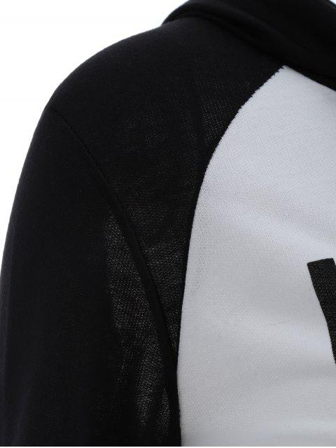 womens Frayed Raglan Sleeve Cropped Hoodie - WHITE AND BLACK S Mobile