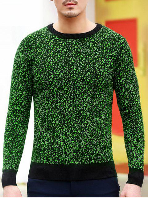 best Slim Fit Crew Neck Space Dyed Sweater - GREEN 2XL Mobile