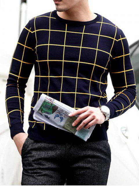 fancy Slim Fit Crew Neck Grid Sweater - PURPLISH BLUE L Mobile