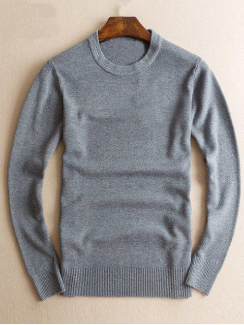 Slim Fit Crew Neck Pullover Strick - Grau M Mobile