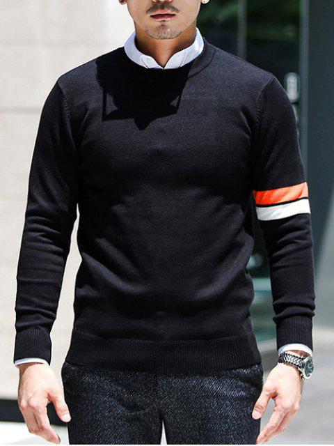 best Crew Neck Varsity Striped Pullover Knitwear - BLACK 2XL Mobile