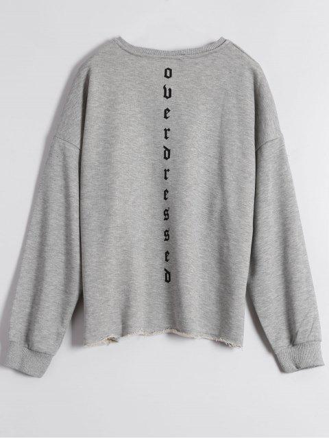 hot Graphic Raw Edge Oversized Sweatshirt - GRAY L Mobile