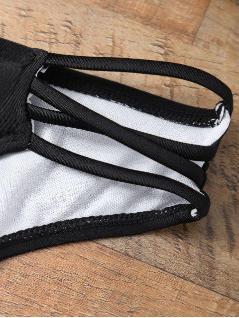 women's Halter Strappy Padded Bikini - BLACK M Mobile