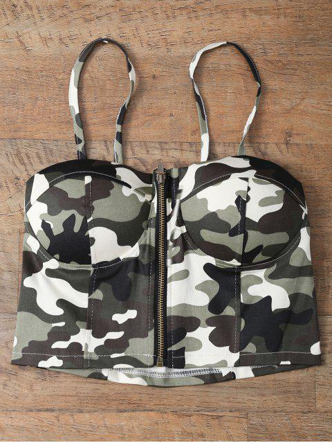 latest Corset Bralet Camouflage Cami Top - GREEN ONE SIZE Mobile