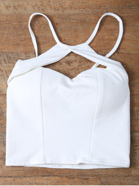 trendy Cut Out Cropped Camisole - WHITE ONE SIZE Mobile