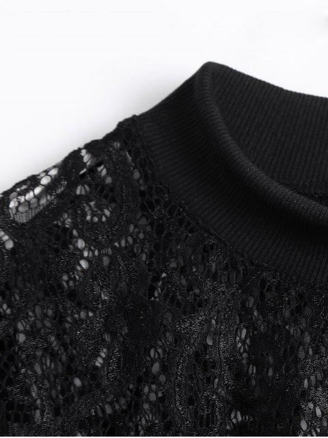 latest Long Slevee High Neck Lace Blouse - BLACK S Mobile