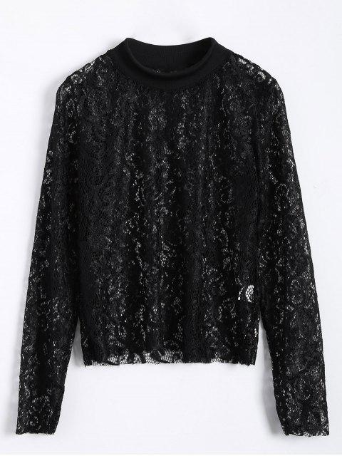 shops Long Slevee High Neck Lace Blouse - BLACK M Mobile