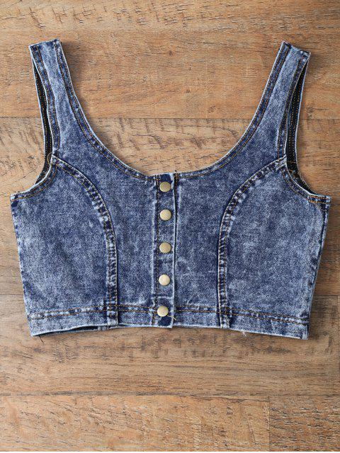 women Scoop Neck Denim Crop Top - DEEP BLUE ONE SIZE Mobile