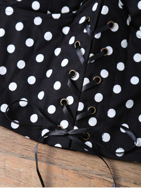 ladies Lace Up Padded Polka Dot Bralet Top - BLACK ONE SIZE Mobile