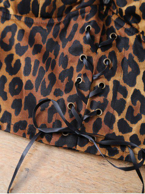 lady Padded Lace Up Leopard Print Bralet Top - LEOPARD ONE SIZE Mobile