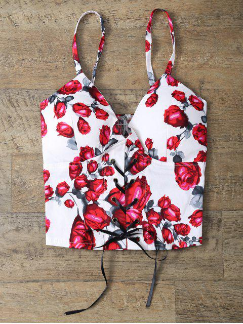 best Padded Rose Print Lace Up Bralet Top - FLORAL ONE SIZE Mobile