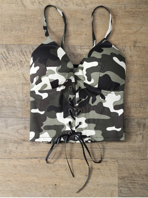 online Padded Lace Up Camouflage Bralet Top - CAMOUFLAGE COLOR ONE SIZE Mobile