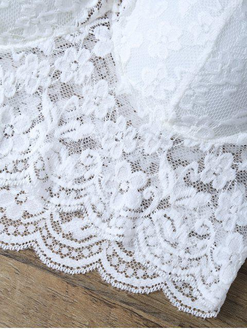 outfit Sheer Lace Plunge Neck Camisole - WHITE ONE SIZE Mobile