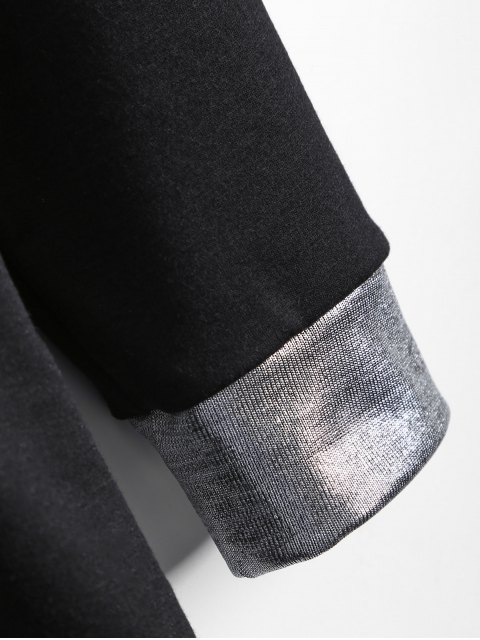outfits Metallic Color Long Sleeve Mini Dress - BLACK XL Mobile